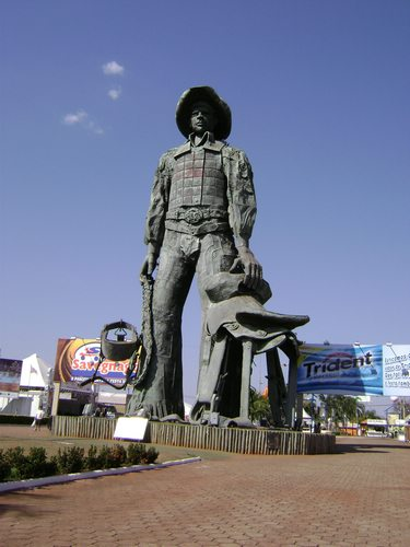 Statue to the Brazilian cowboy celebrated at the Festa do Peão de Boiadeiro, Brazil For Less