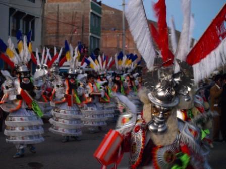Traditional costumes in the Diablada dance in Puno, Peru. Photograph: Matthew Barker 2009.