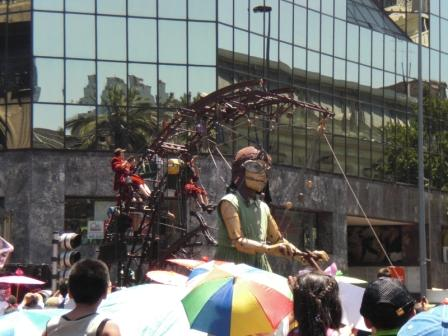 Giant Puppet on the streets of Santiago. Courtesy of Jonathan Hudson